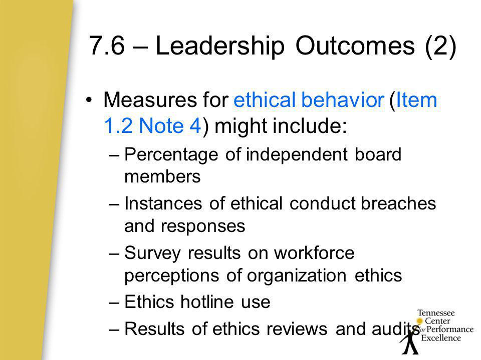 7.6 – Leadership Outcomes (2)