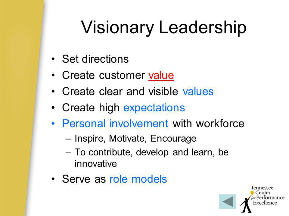 Visionary Leadership Set directions Create customer value