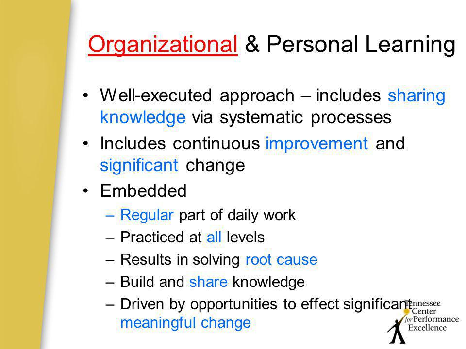 Organizational & Personal Learning