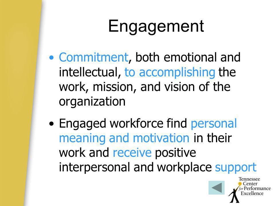 Engagement Commitment, both emotional and intellectual, to accomplishing the work, mission, and vision of the organization.