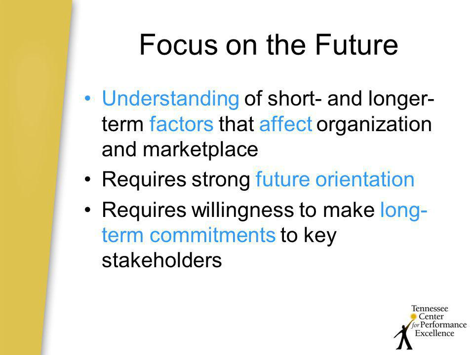 Focus on the Future Understanding of short- and longer-term factors that affect organization and marketplace.