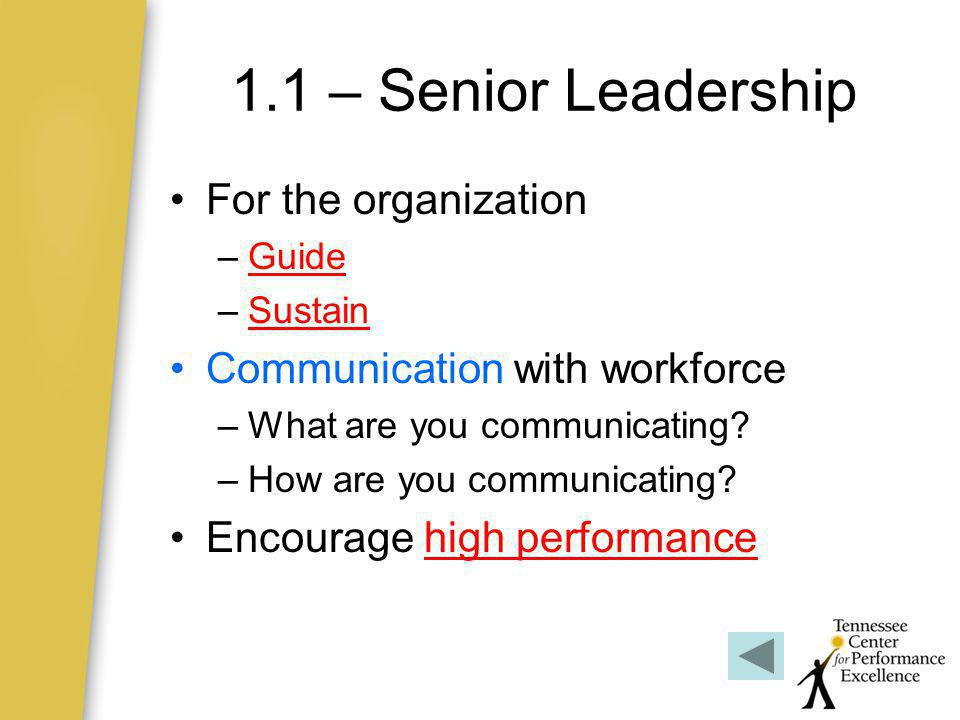 1.1 – Senior Leadership For the organization