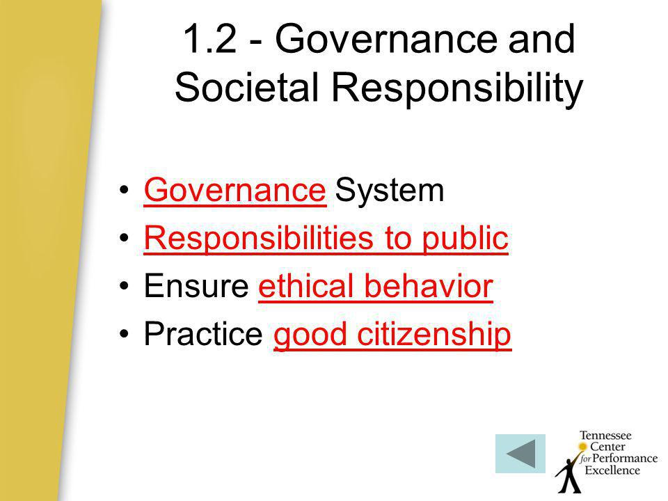 1.2 - Governance and Societal Responsibility