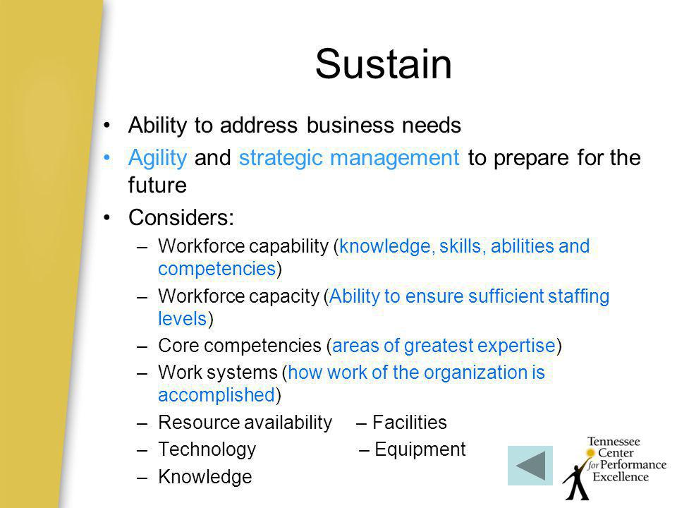 Sustain Ability to address business needs