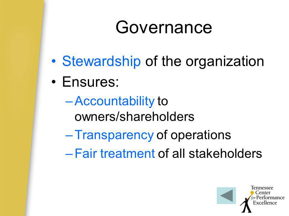 Governance Stewardship of the organization Ensures: