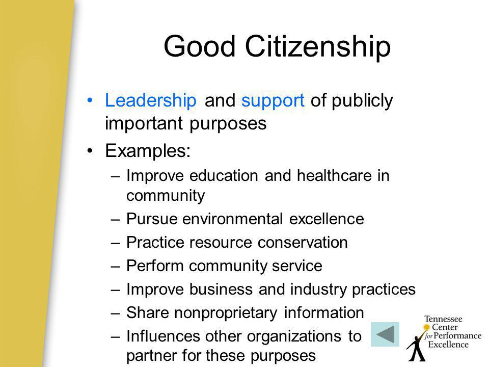 Good Citizenship Leadership and support of publicly important purposes