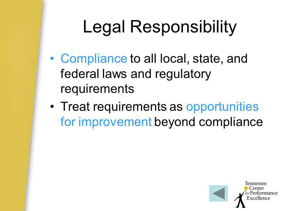 Legal Responsibility Compliance to all local, state, and federal laws and regulatory requirements.