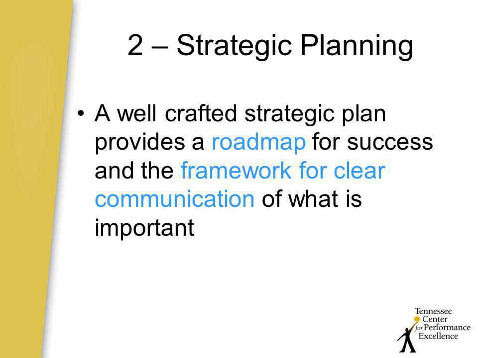 2 – Strategic Planning A well crafted strategic plan provides a roadmap for success and the framework for clear communication of what is important.