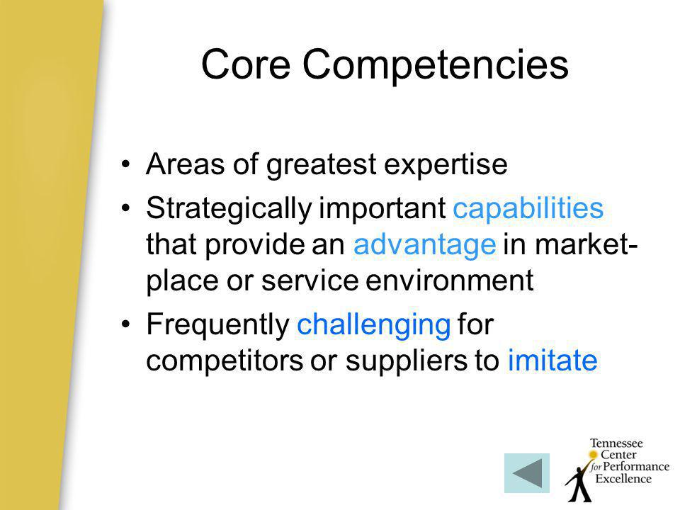 Core Competencies Areas of greatest expertise