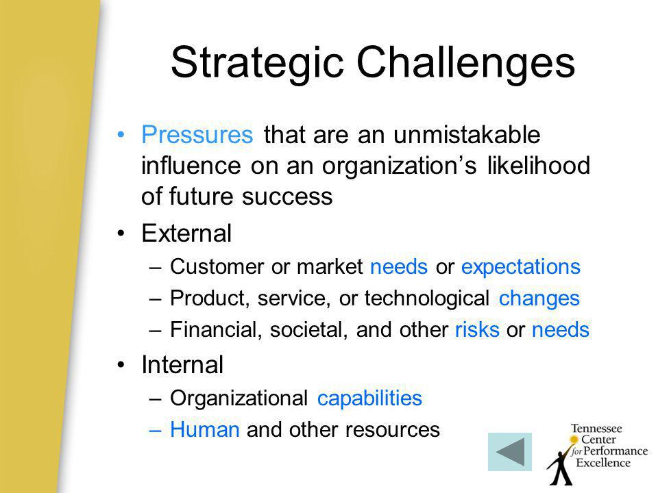 Strategic Challenges Pressures that are an unmistakable influence on an organization's likelihood of future success.