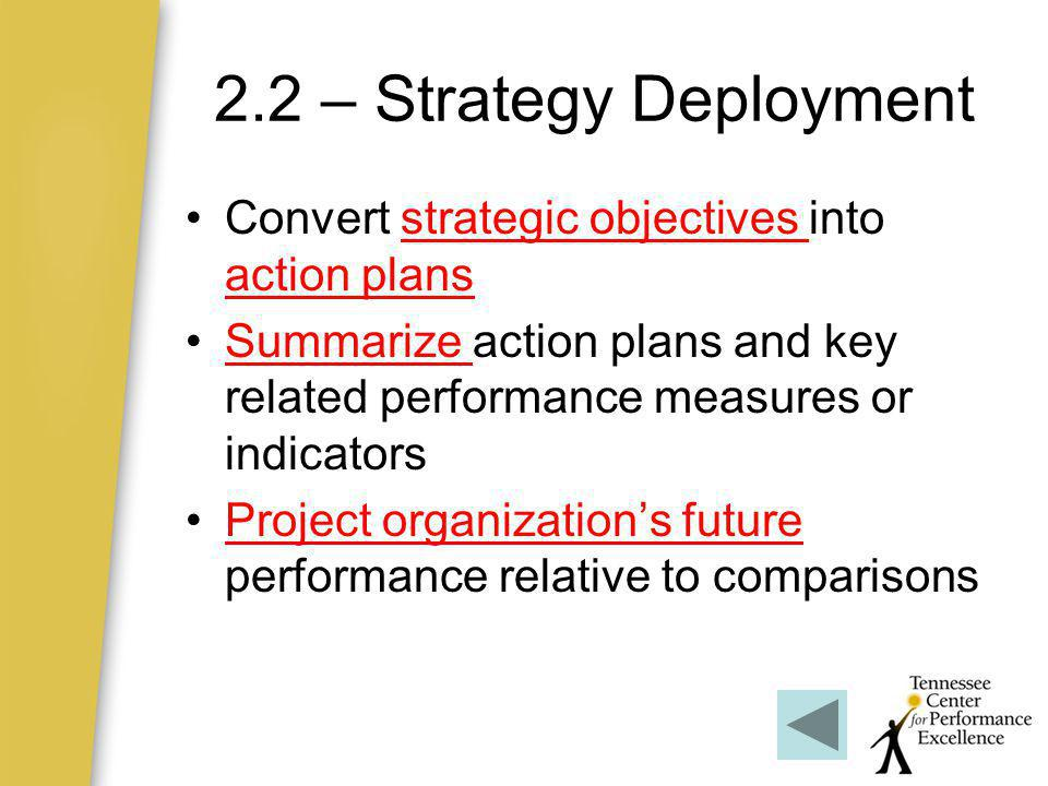 2.2 – Strategy Deployment Convert strategic objectives into action plans. Summarize action plans and key related performance measures or indicators.