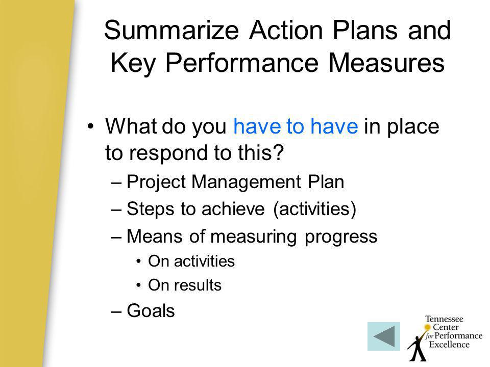 Summarize Action Plans and Key Performance Measures