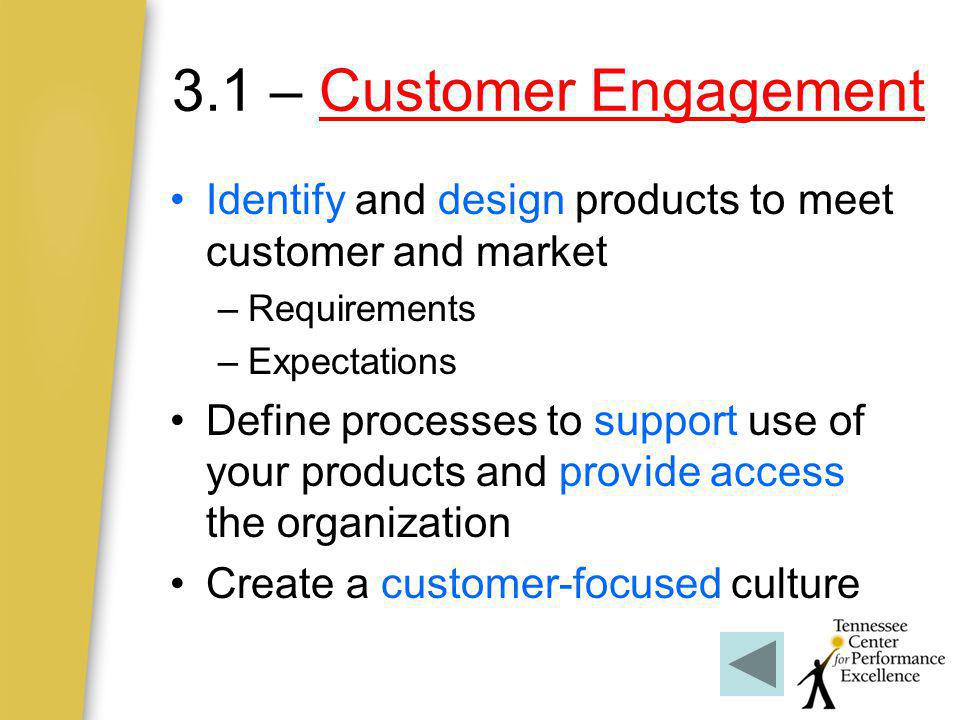 3.1 – Customer Engagement Identify and design products to meet customer and market. Requirements. Expectations.