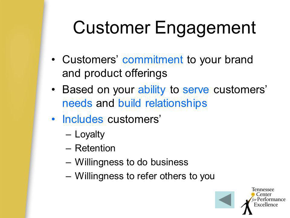 Customer Engagement Customers' commitment to your brand and product offerings.