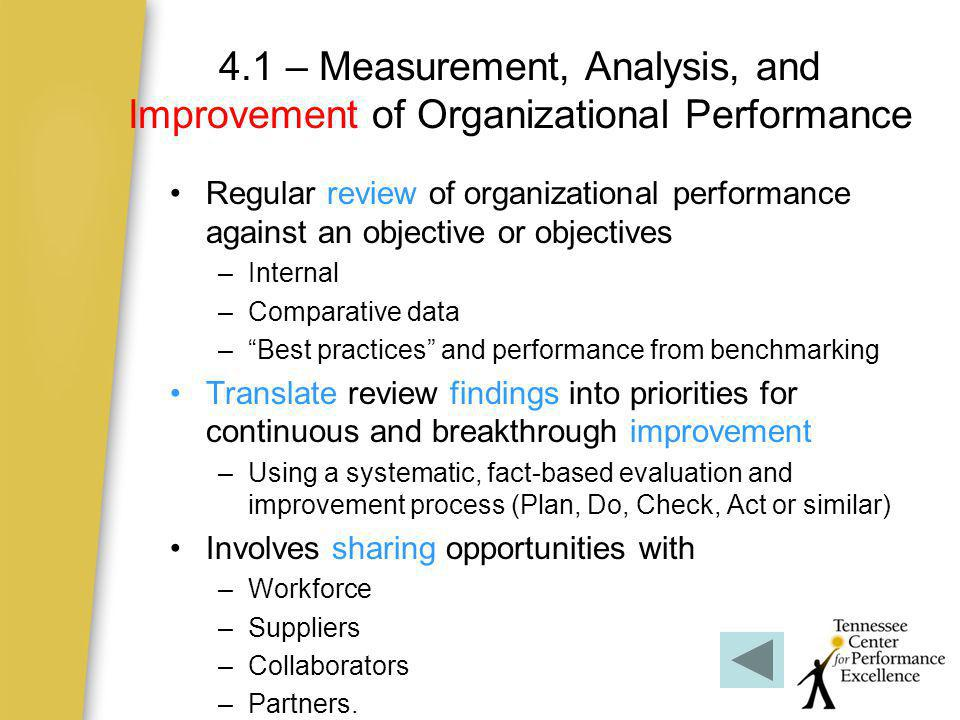 4.1 – Measurement, Analysis, and Improvement of Organizational Performance