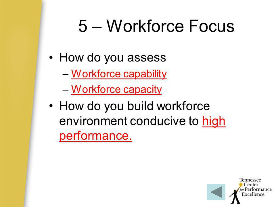 5 – Workforce Focus How do you assess