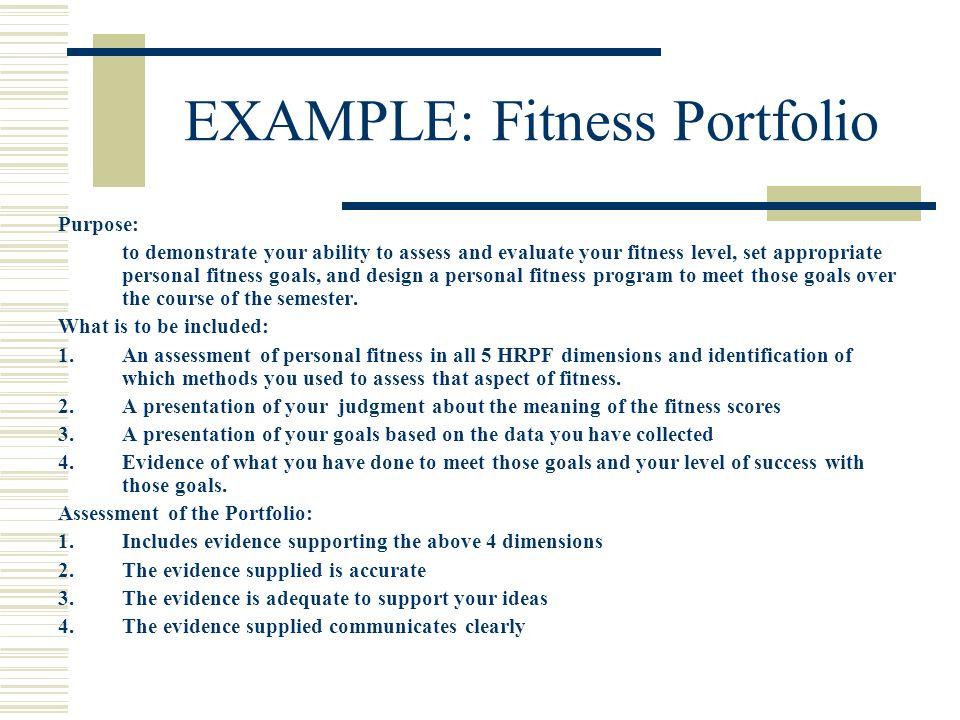 EXAMPLE: Fitness Portfolio
