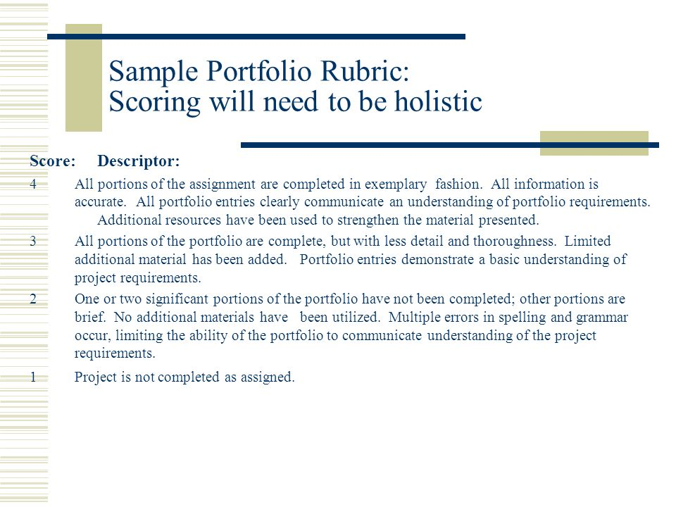 Sample Portfolio Rubric: Scoring will need to be holistic