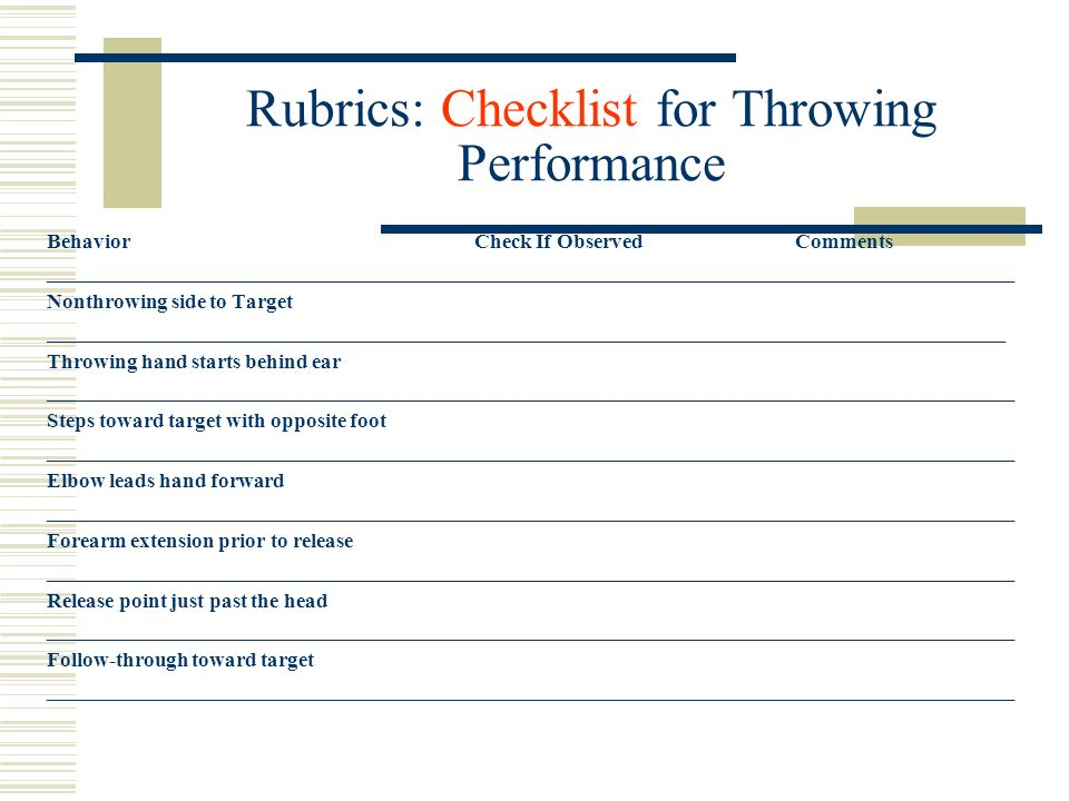 Rubrics: Checklist for Throwing Performance