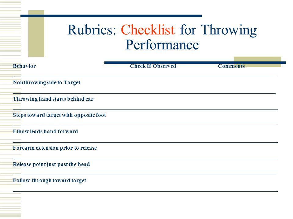 Rubrics: Checklist for Throwing Performance