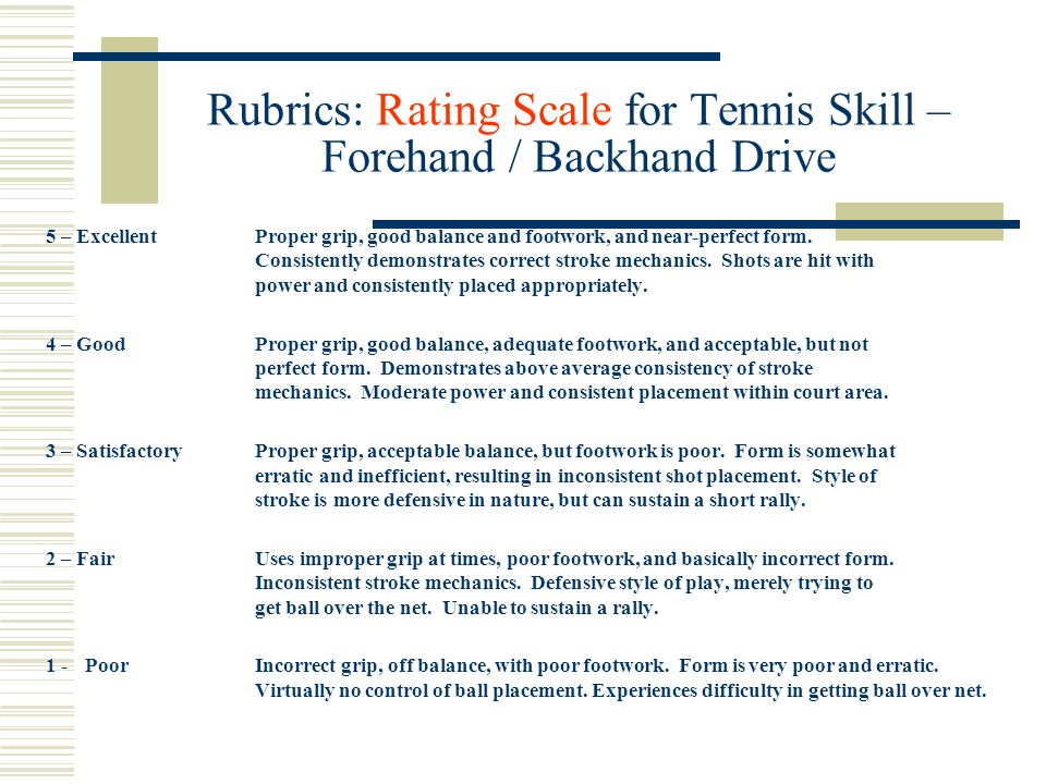 Rubrics: Rating Scale for Tennis Skill – Forehand / Backhand Drive