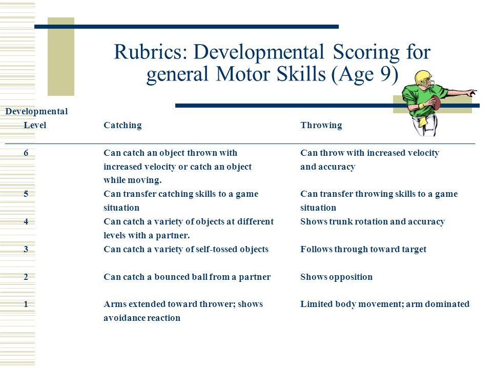Rubrics: Developmental Scoring for general Motor Skills (Age 9)