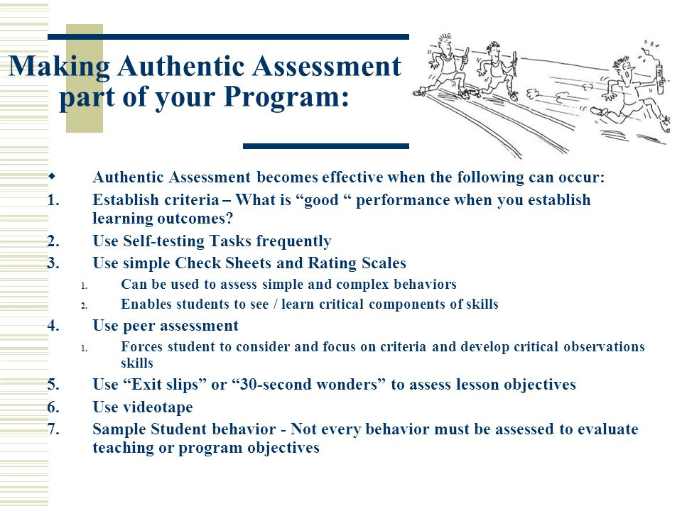 Making Authentic Assessment part of your Program: