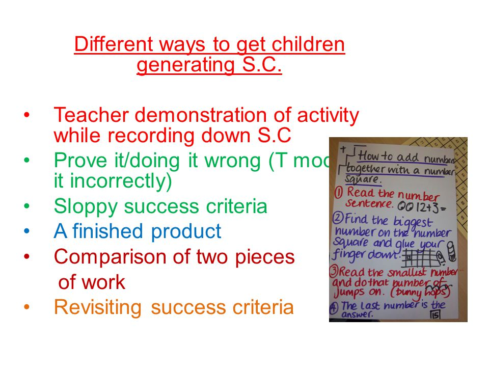 Different ways to get children generating S.C.