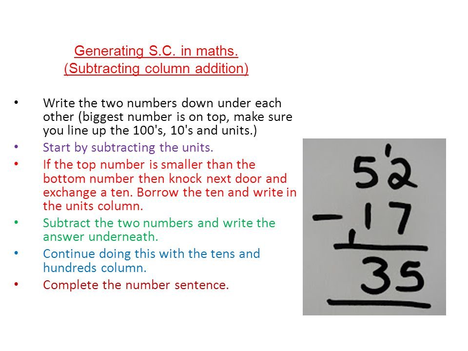 (Subtracting column addition)