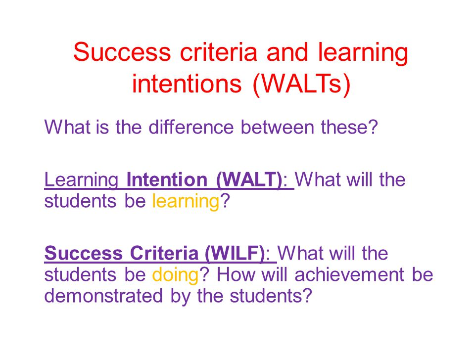 Success criteria and learning intentions (WALTs)