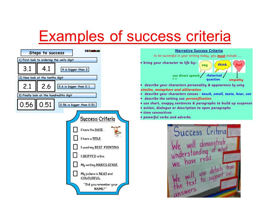 Examples of success criteria