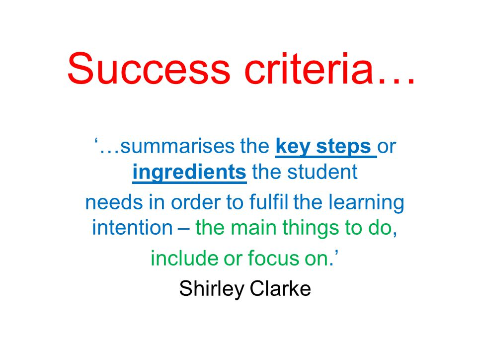 '…summarises the key steps or ingredients the student