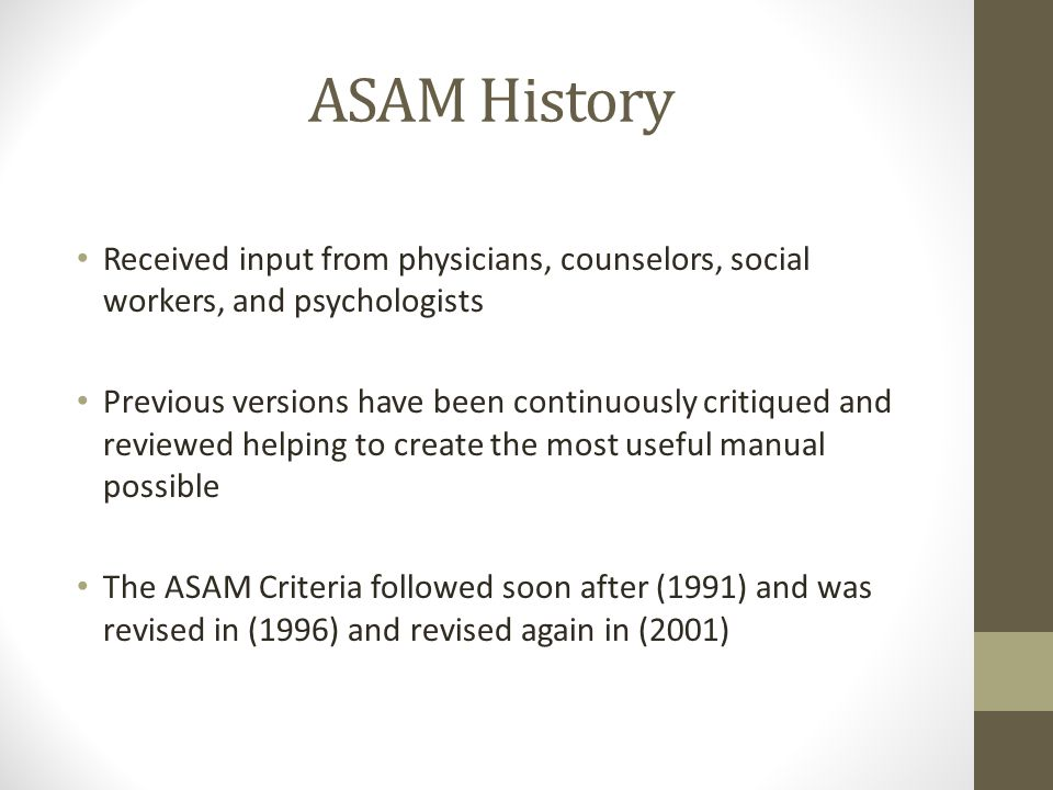ASAM History Received input from physicians, counselors, social workers, and psychologists.