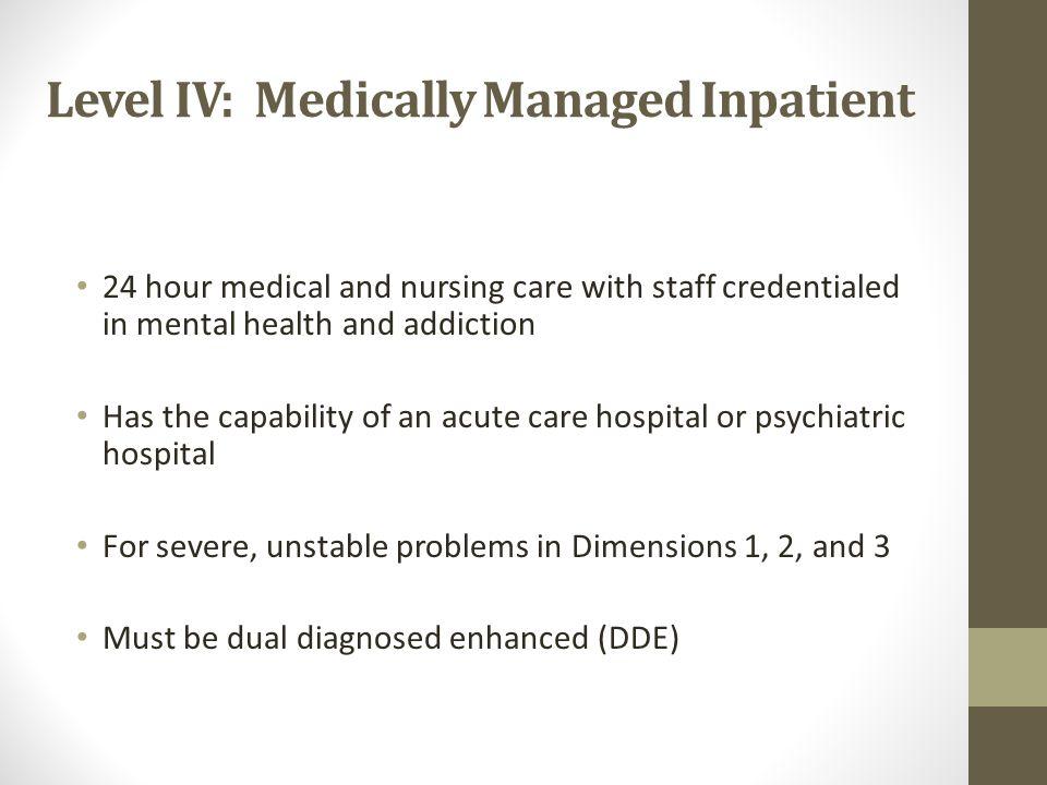 Level IV: Medically Managed Inpatient