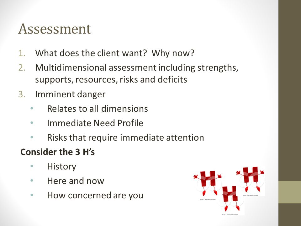 Assessment What does the client want Why now