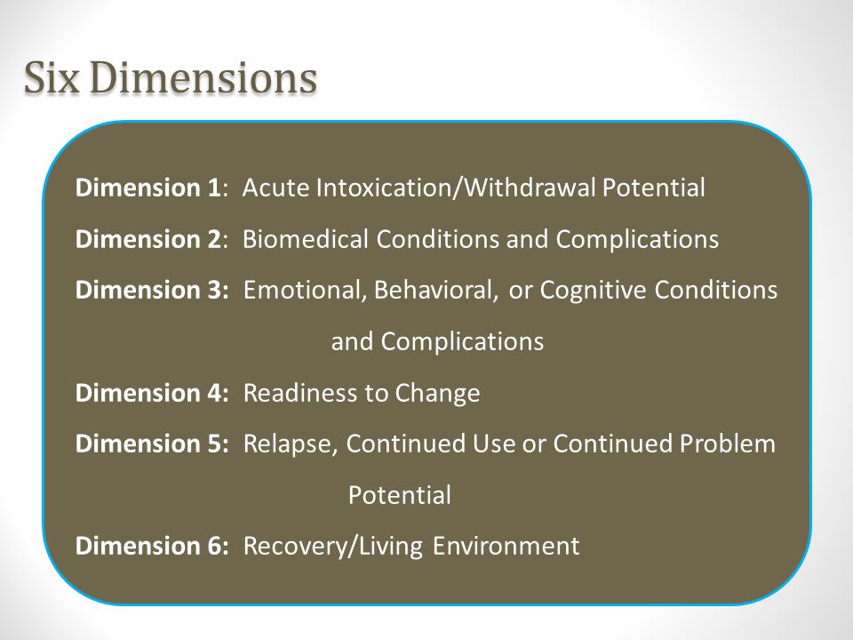 Six Dimensions Dimension 1: Acute Intoxication/Withdrawal Potential