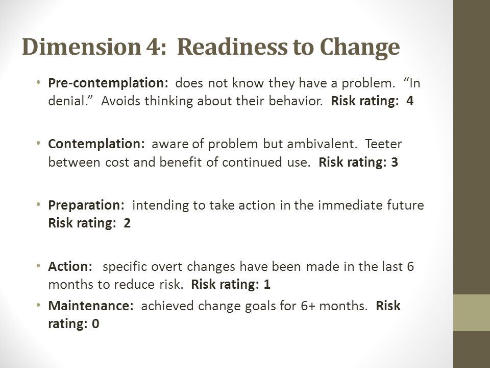 Dimension 4: Readiness to Change