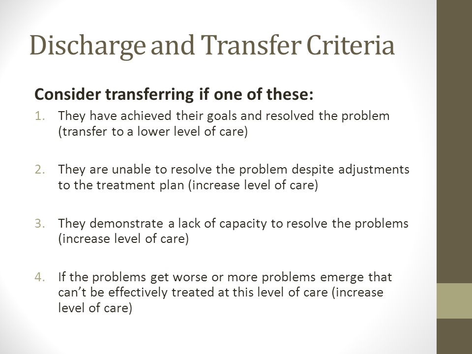 Discharge and Transfer Criteria