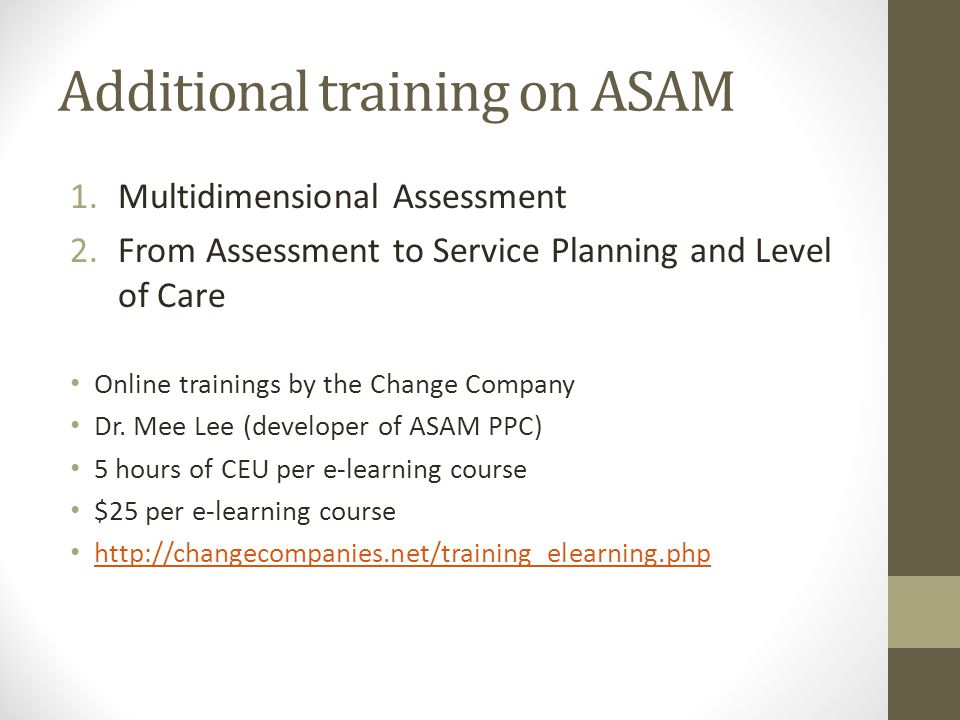 Additional training on ASAM