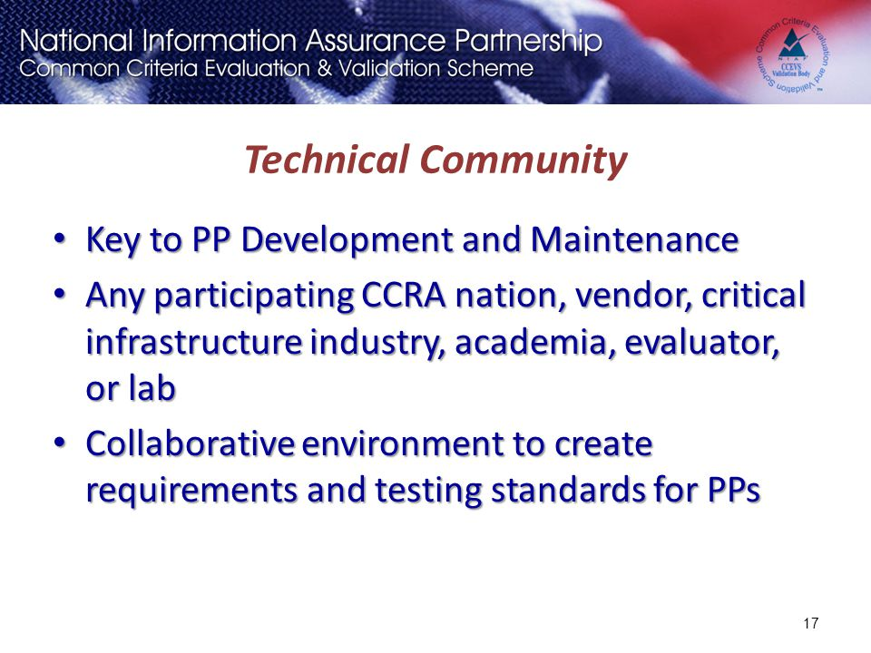 Technical Community Key to PP Development and Maintenance