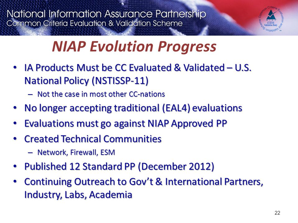 NIAP Evolution Progress