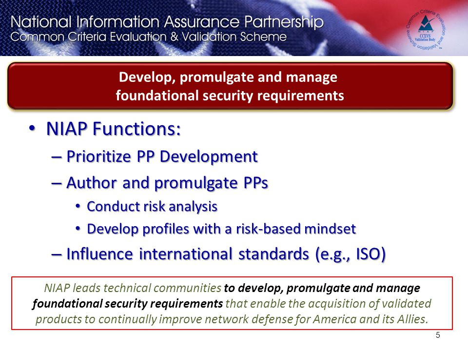 Develop, promulgate and manage foundational security requirements