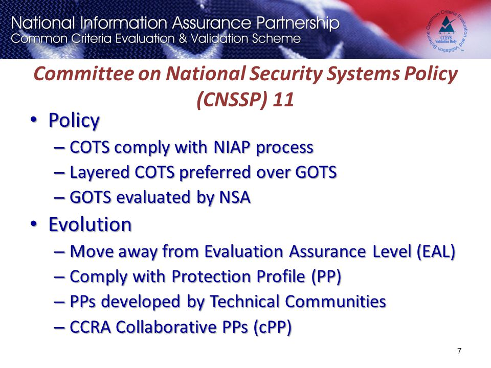 Committee on National Security Systems Policy (CNSSP) 11