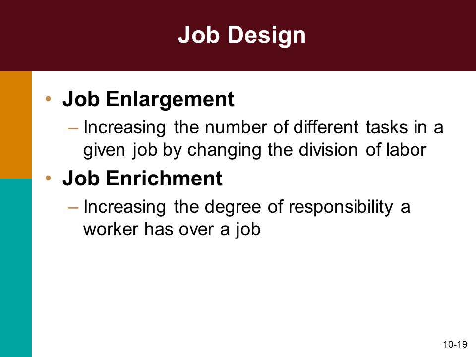 Job Design Job Enlargement Job Enrichment