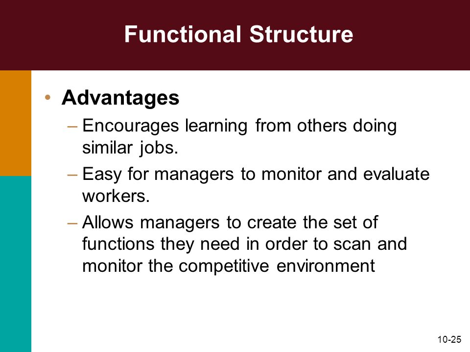Functional Structure Advantages