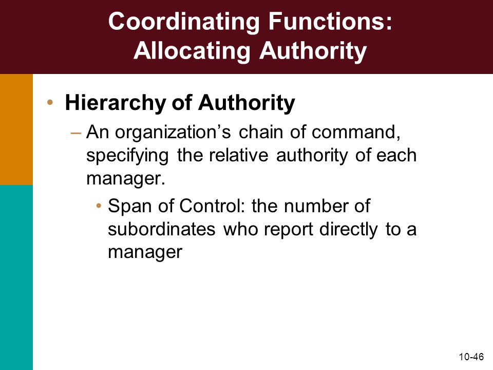 Coordinating Functions: Allocating Authority