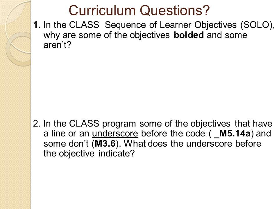 Curriculum Questions