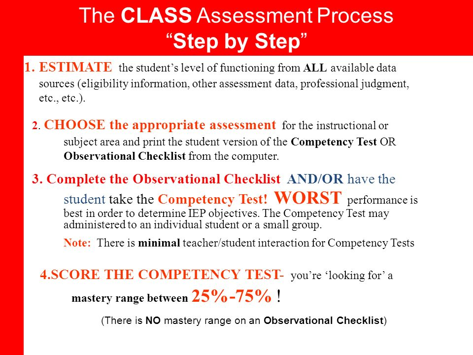 The CLASS Assessment Process Step by Step