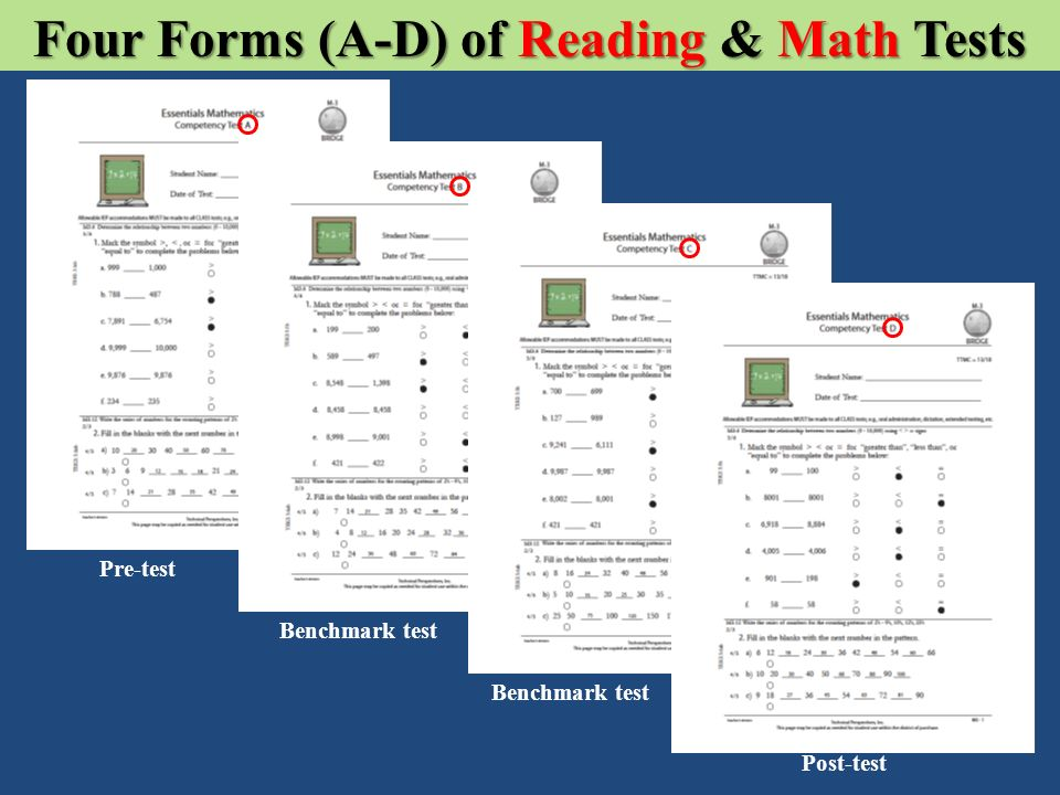 Four Forms (A-D) of Reading & Math Tests