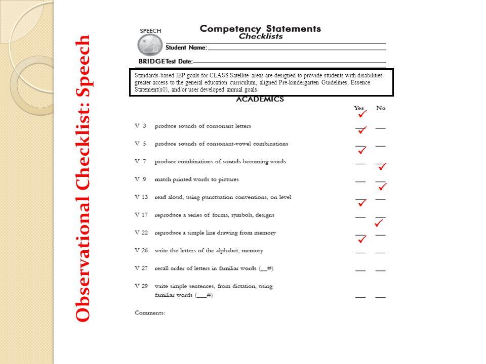 Observational Checklist: Speech